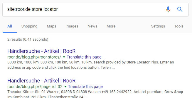 how to find a store locator using advanced search operators